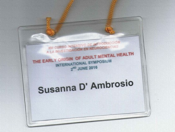 Simposio internacional: «The early origin of adult mental health» D'ambrosio card